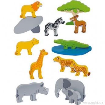 Dřevěné farmy a příslušenství - Sada zvířátka z Afriky, 14 dílů