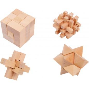 Dřevěné hlavolamy 4 ks
