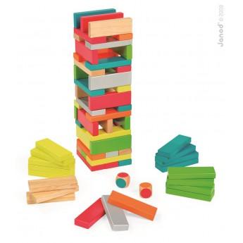 Motorické a didaktické hračky - Dřevěná věž Jenga 7 barev, 60 ks