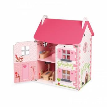 Pro holky - Domeček pro panenky růžový s nábytkem