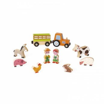 Dřevěné farmy a příslušenství - Postavičky a zvířátka - Farma s traktorem