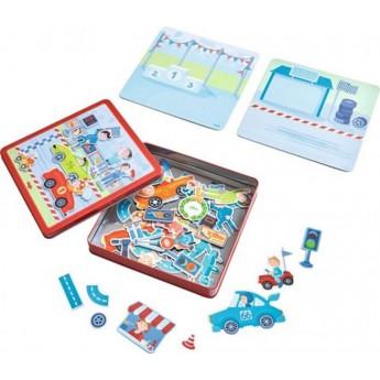 Puzzle - Magnetická kniha - Závodní autíčka