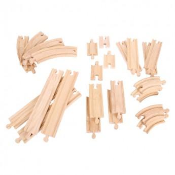 Pro kluky - Sada dřevěných kolejí k vlačkodráhám, 24 dílů