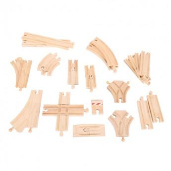 Pro kluky - Sada dřevěných kolejí k vlačkodráhám, 25 dílů