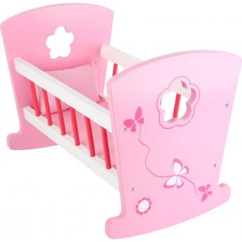 Dřevěná kolébka pro panenky - růžová