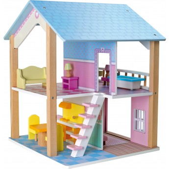 Dřevěný domeček pro panenky Modrá střecha