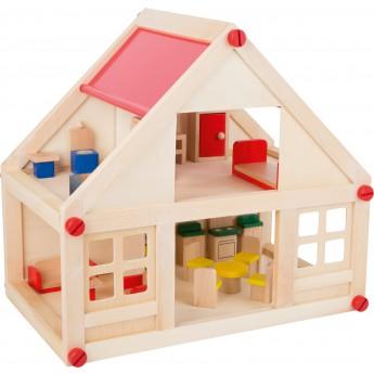 Dřevěný dvoupatrový obytný dům pro panenky