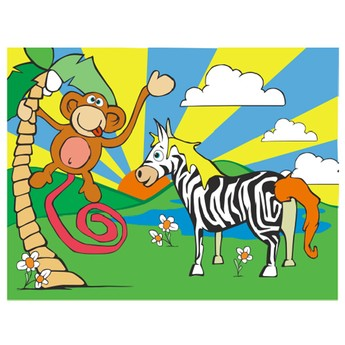 Puzzle - Vkládačka - Zebra a opice