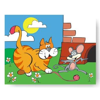 Puzzle - Vkládačka - Kočka s myší