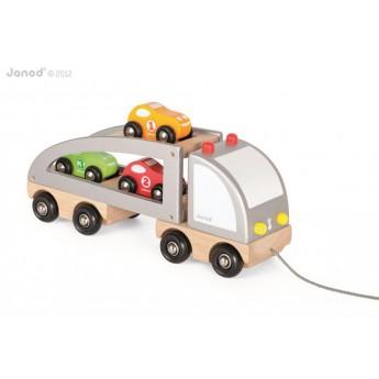 Dřevěný kamion s autíčky