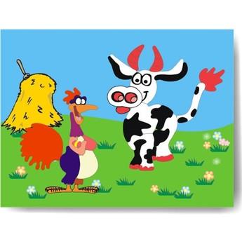 Puzzle - Vkládačka - Kohout a kráva