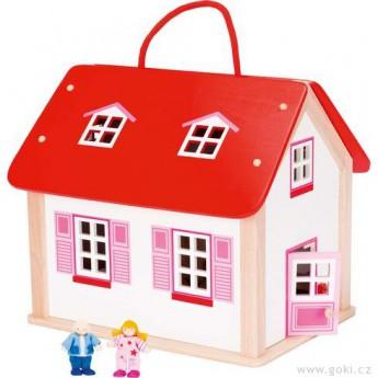Přenosný domeček pro panenky s vybavením, 24 díly