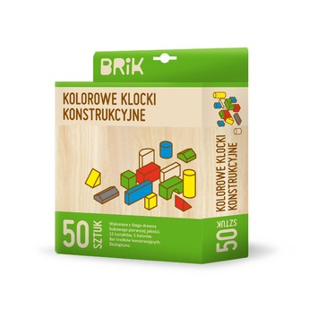 Kostky a stavebnice - Dřevěné kostky barevné - 50 ks