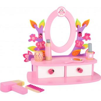 Pro holky - Dřevěný kosmetický stoleček růžový