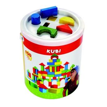 Kostky a stavebnice - Dřevěné kostky KUBI - 100 ks