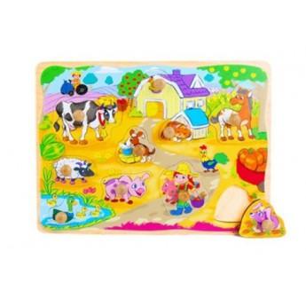 Dřevěné puzzle s úchyty Vesnice