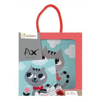 Výtvarné a kreativní hračky - Dětské vyšívání s rámečkem Kočička