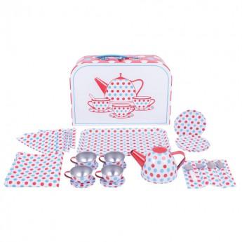 Pro holky - Čajový servis s puntiky v kufříku