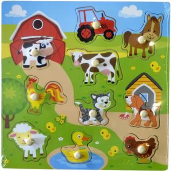 Dětské dřevěné puzzle s úchyty Vesnice