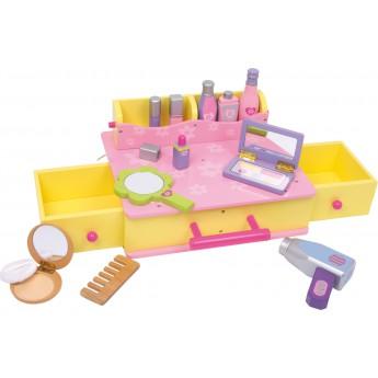 Pro holky - Dřevěný kosmetický kufřík, žlutorůžový