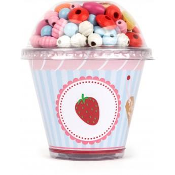 Motorické a didaktické hračky - Sada dřevěných korálků Cupcake - jahoda