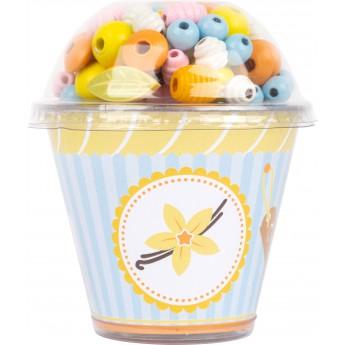 Sada dřevěných korálků Cupcake - vanilka