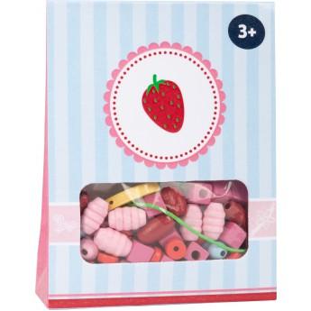 Motorické a didaktické hračky - Dřevěné korálky Candy - jahoda