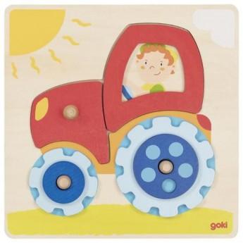 Motorické a didaktické hračky - Traktor s kolečky, 6 dílů