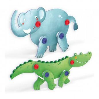 Kostky a stavebnice - Tecno Puzzle 3D - slon a krokodýl
