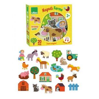 Školní potřeby - Dřevěné magnetky farma 20 ks