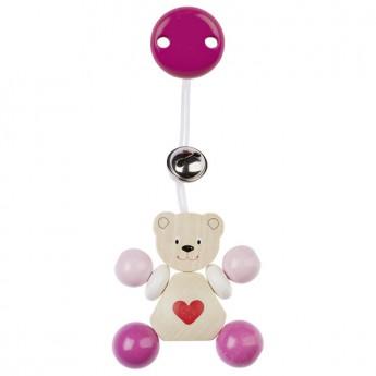 Závěsná dřevěná hračka Medvídek růžový