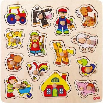 Dřevěné puzzle s úchytkami Venkov 14 dílků