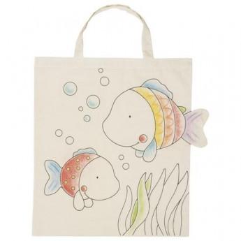 Výtvarné a kreativní hračky - Bavlněná taška k vymalování – Rybky