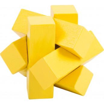 Dřevěný hlavolam barevný - hvězda žlutá