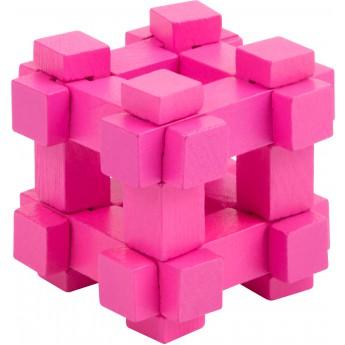 Dřevěný hlavolam barevný - kostka růžová