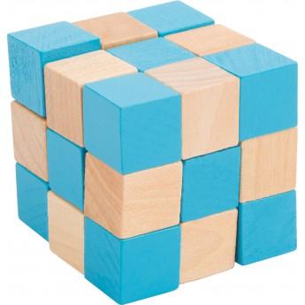 Dřevěný hlavolam barevný - kostka