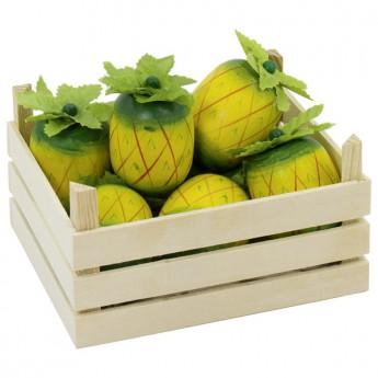 Ananas v dřevěné přepravce, 5 ks