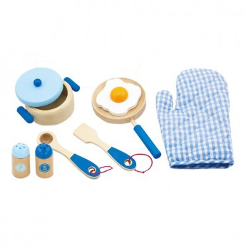 Dětské dřevěné nádobí - snídaně modré