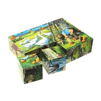 Kostky a stavebnice - Dřevěné kostky Zvířátka Husy - 12 kostek