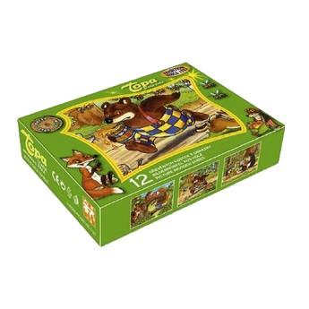 Dřevěné kostky Medvídek - 12 kostek