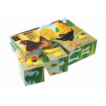 Kostky a stavebnice - Dřevěné kostky Zvířátka pes - 12 kostek