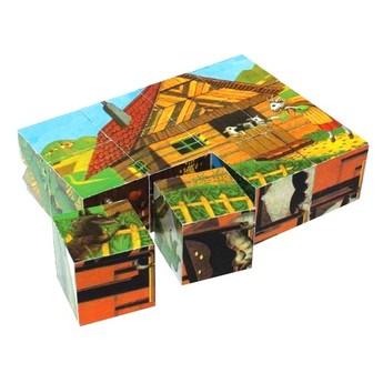 Kostky a stavebnice - Dřevěné kostky Národní pohádky - 12 kostek