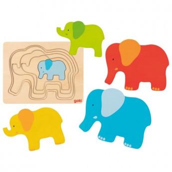 Vícevrstvé puzzle – slon, 5 dílů