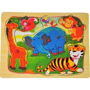 Dřevěné puzzle Divoká zvířatka