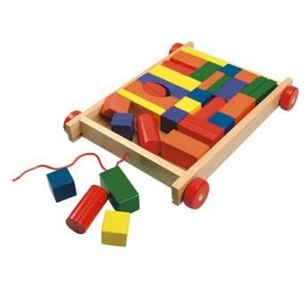Kostky a stavebnice - Vozík s kostkami - 34 dílů