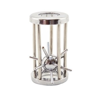 Hlavolam ježek v kleci kovový chromovaný
