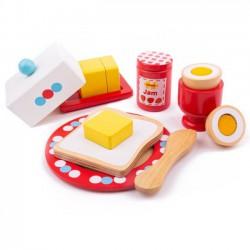 Dřevěný set snídaně s puntíky