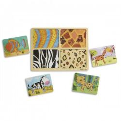 Dřevěné puzzle deskové na cestu Zvířata 16 ks
