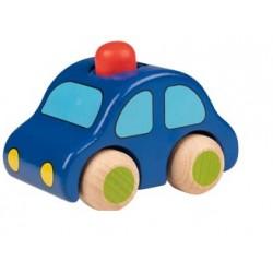 Dřevěné autíčko s houkačkou - červený maják
