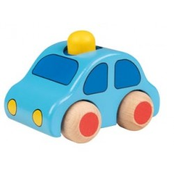 Dřevěné autíčko s houkačkou - žlutý maják